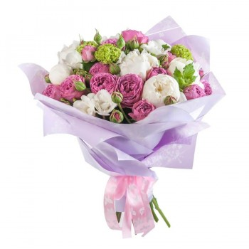 Букет белых пионов и пионовидных роз «Сливки»